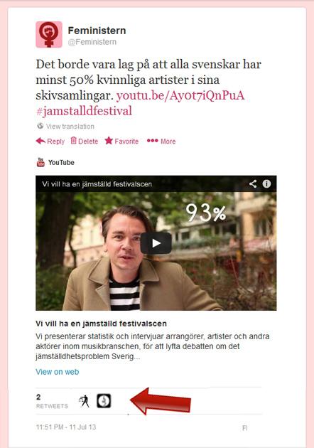 Feministern retweetad av jämställd festival
