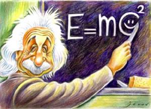 Einstein vid svarta tavlan