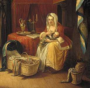 målning av kvinna (1700-tal?) med baby