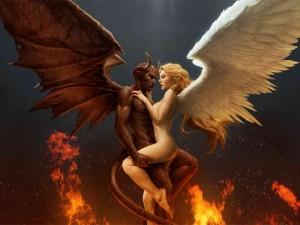 Djävul o Ängel sammanslingrade