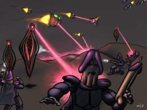 könsorgansliknande varelser utkämpar strid med laservapen