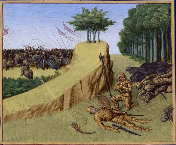 Målning av riddar Rolands död