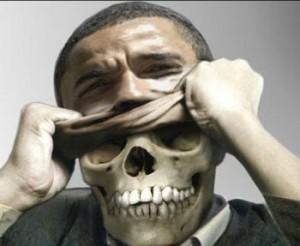Dödskalle bakom Obamas ansikte