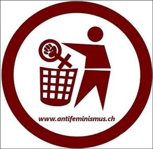 symbol där person slänger feministsymbol i papperskorg