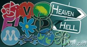 """Partisymboler och skylt till """"Hell"""" och """"Heaven"""""""