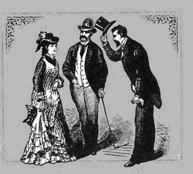 Gentleman lyfter på hatten för dam