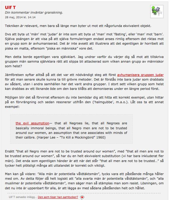 Ulf T's kommentar (1) hos Lady Dahmer