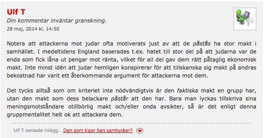 Ulf T's kommentar (2) hos Lady Dahmer