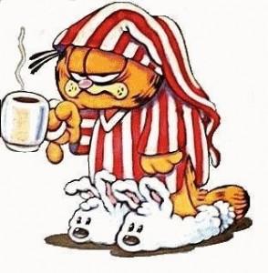 Garfield hängig med kopp kaffe