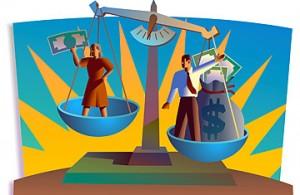 Man med pengar o kvinna i balansvåg