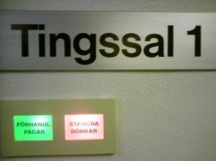 """Tingsrättslampa """"stängda dörrar"""""""