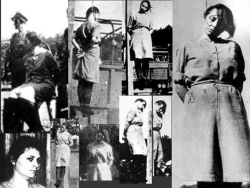 Kvinnliga koncentrationslägervakter hängs