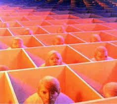 """människor i """"lådor"""" (kontorslandskap)"""