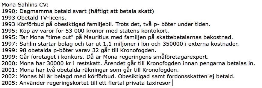 Mona Sahlins CV