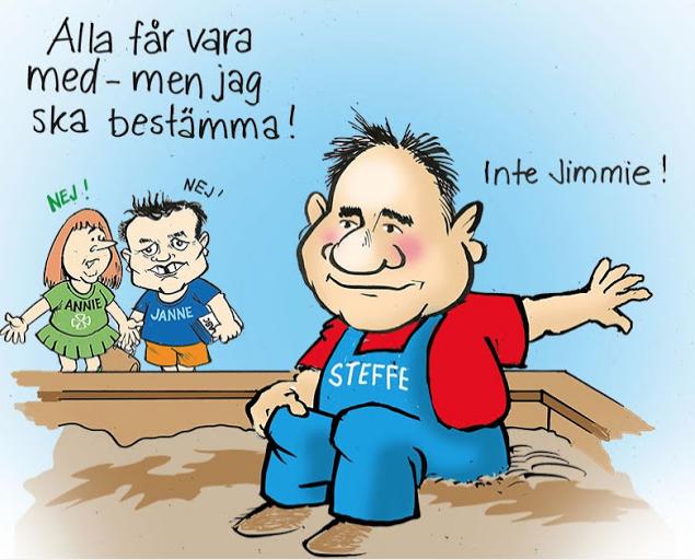 EXPO och statsminister Löfven – två pajasar hand i hand.